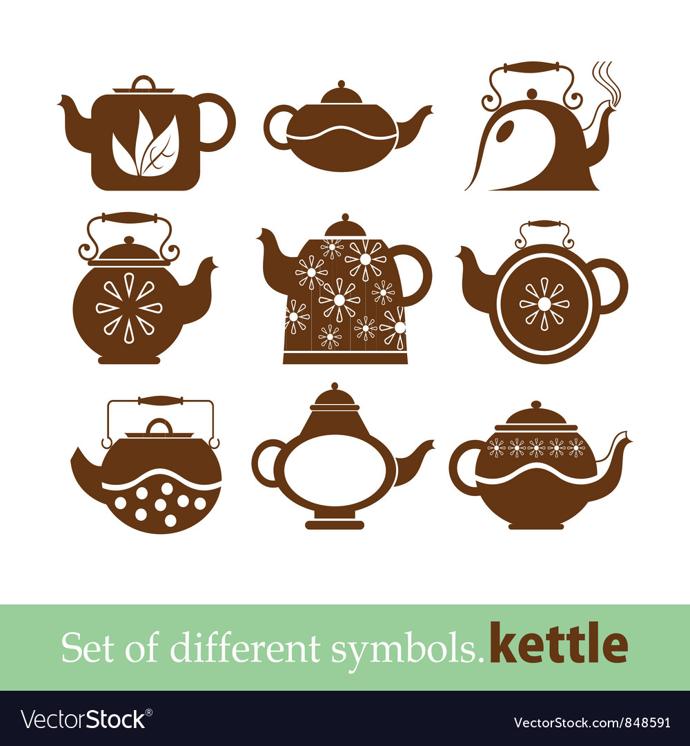 Set of symbols kettle teapot vector | Price: 1 Credit (USD $1)
