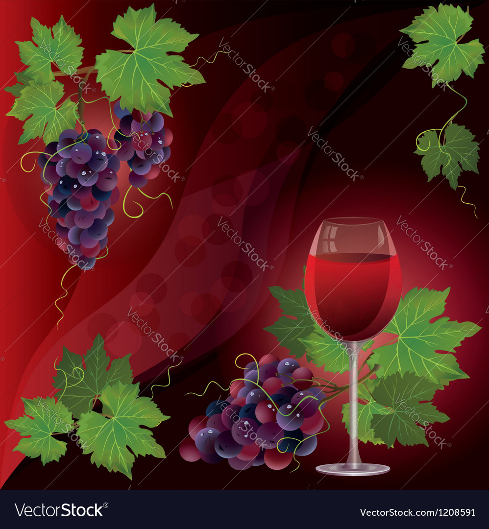 Wine glass and black grape background vector | Price: 1 Credit (USD $1)