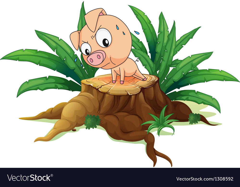 A pig exercising above a tree vector | Price: 1 Credit (USD $1)