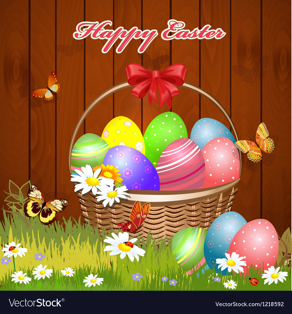 Basket easter4 vector | Price: 3 Credit (USD $3)