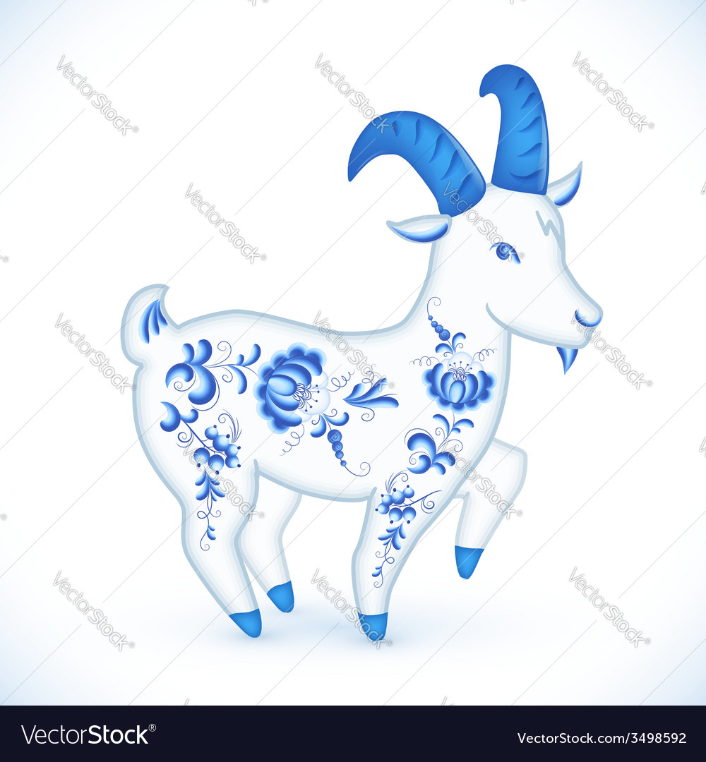 Blue cartoon goat in russian gzhel style vector | Price: 1 Credit (USD $1)