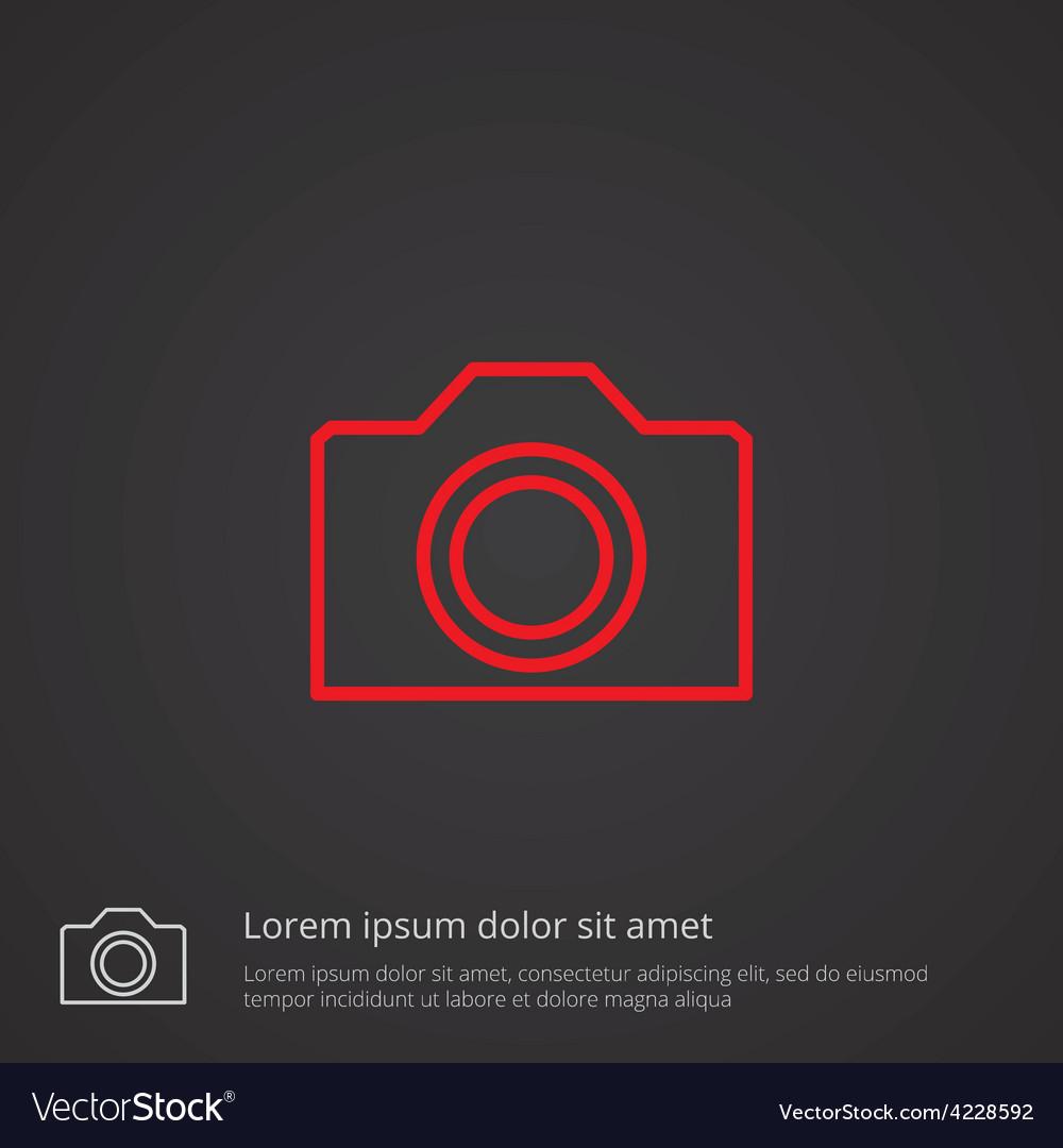 Camera outline symbol red on dark background logo vector | Price: 1 Credit (USD $1)