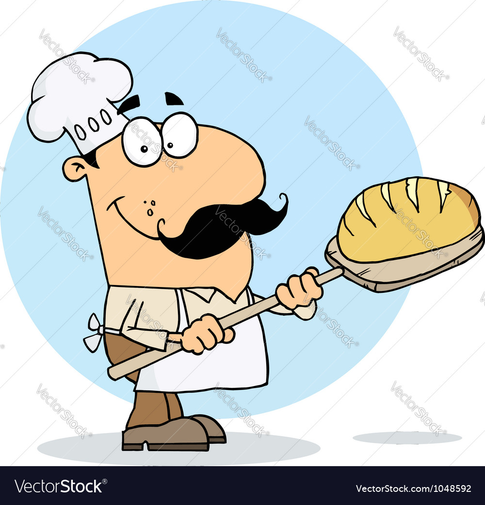 Caucasian cartoon bread maker man vector | Price: 1 Credit (USD $1)