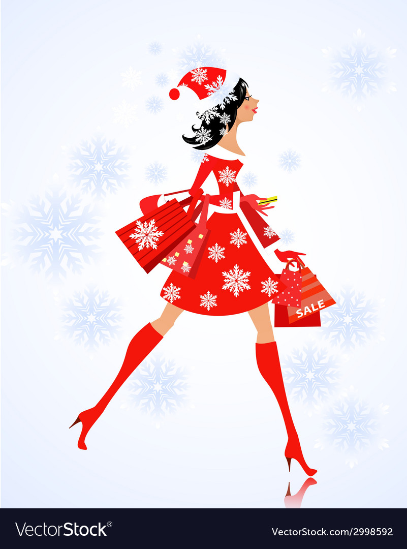 Fashion young woman santa with purchase vector | Price: 1 Credit (USD $1)