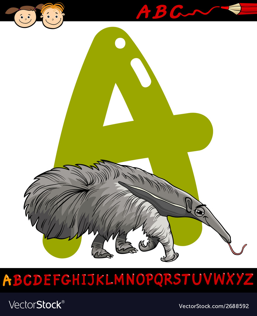 Letter a for anteater cartoon vector | Price: 1 Credit (USD $1)