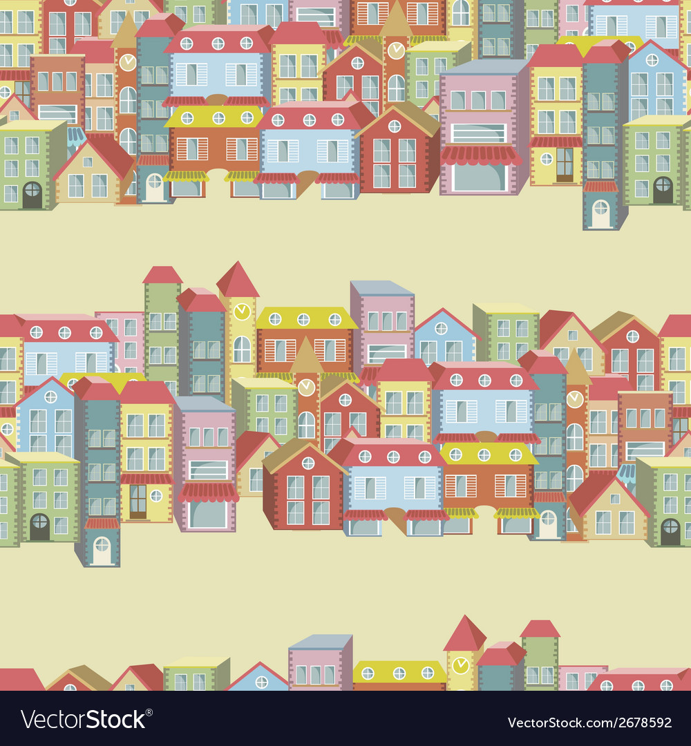 Seamless pattern with houses and buildings vector | Price: 1 Credit (USD $1)