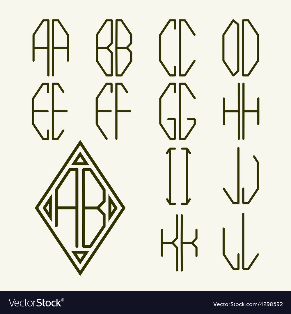 Set 1 templates of letters to create monogram vector | Price: 1 Credit (USD $1)
