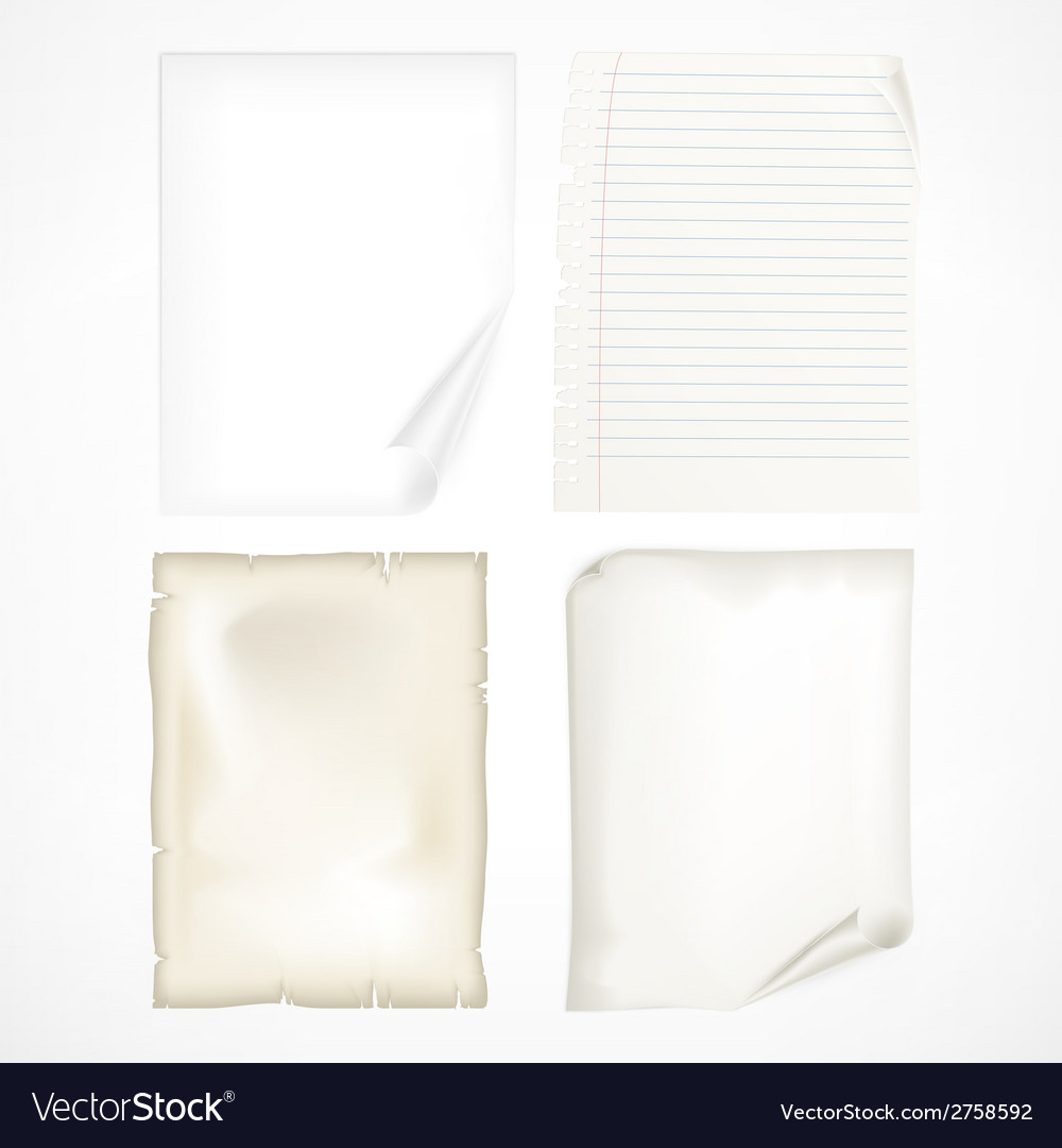 Set of white sheet papers vector | Price: 1 Credit (USD $1)