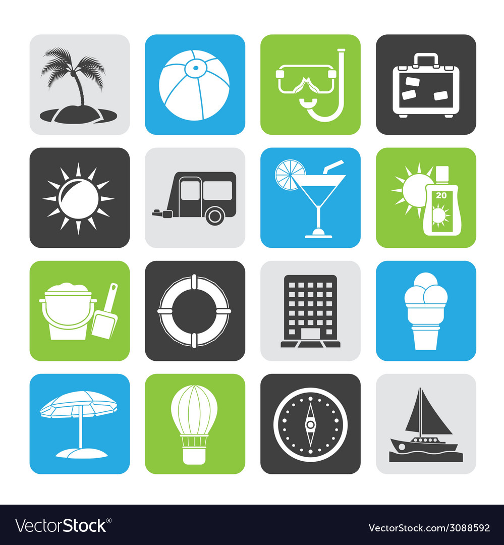 Silhouette vacation and holiday icons vector | Price: 1 Credit (USD $1)