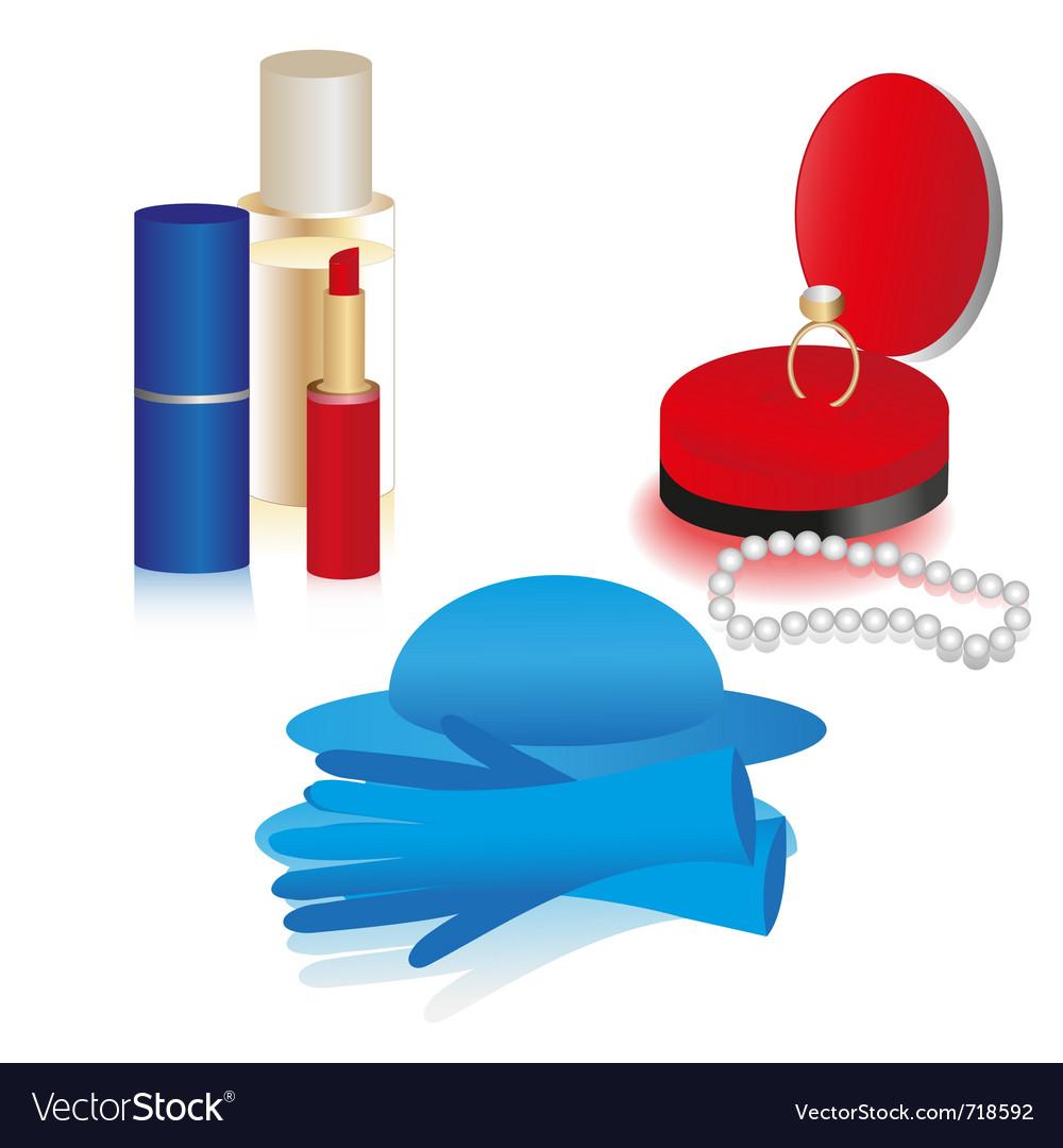 Women accessories icon set vector   Price: 1 Credit (USD $1)