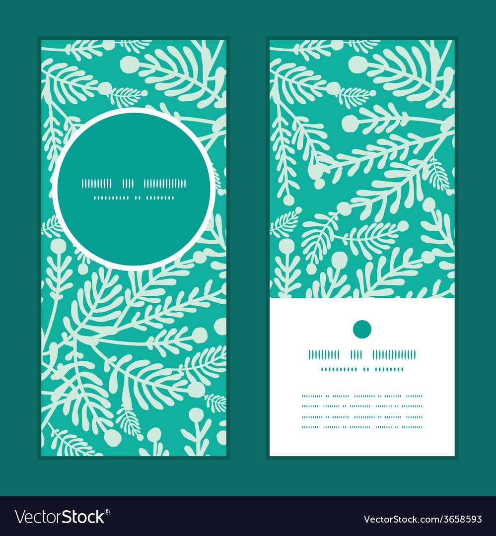 Emerald green plants vertical round frame pattern vector | Price: 1 Credit (USD $1)