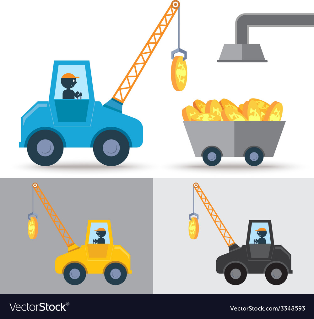 Golden coin crane vector | Price: 1 Credit (USD $1)