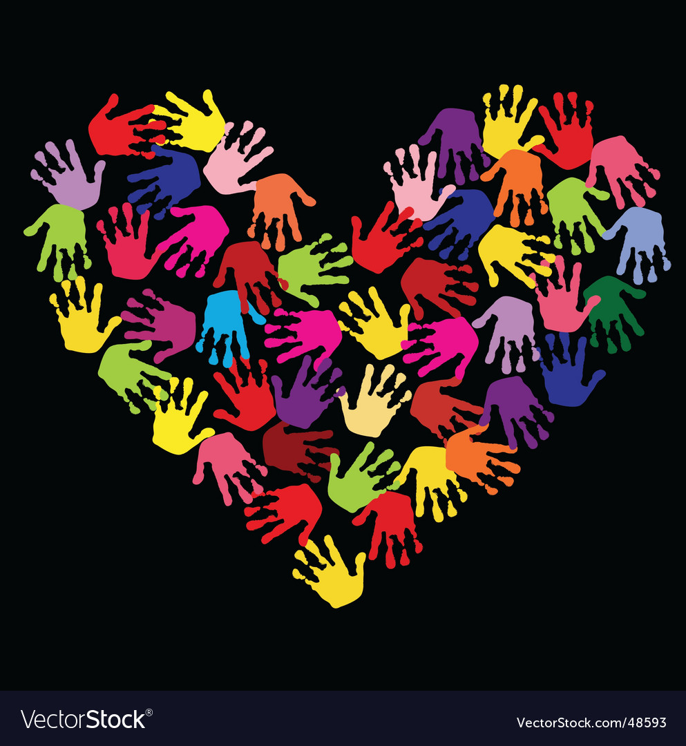Hand print heart vector | Price: 1 Credit (USD $1)
