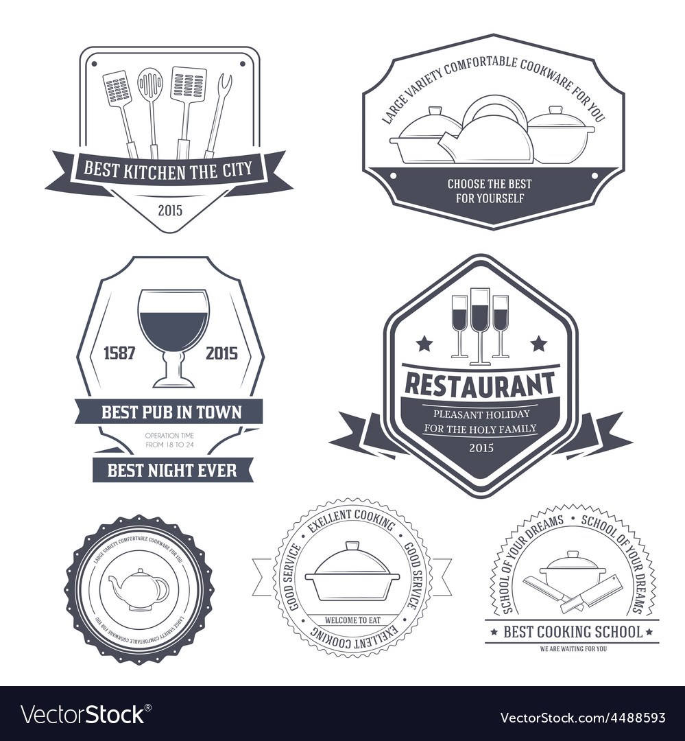Kitchen equipment set label template of emblem vector | Price: 1 Credit (USD $1)