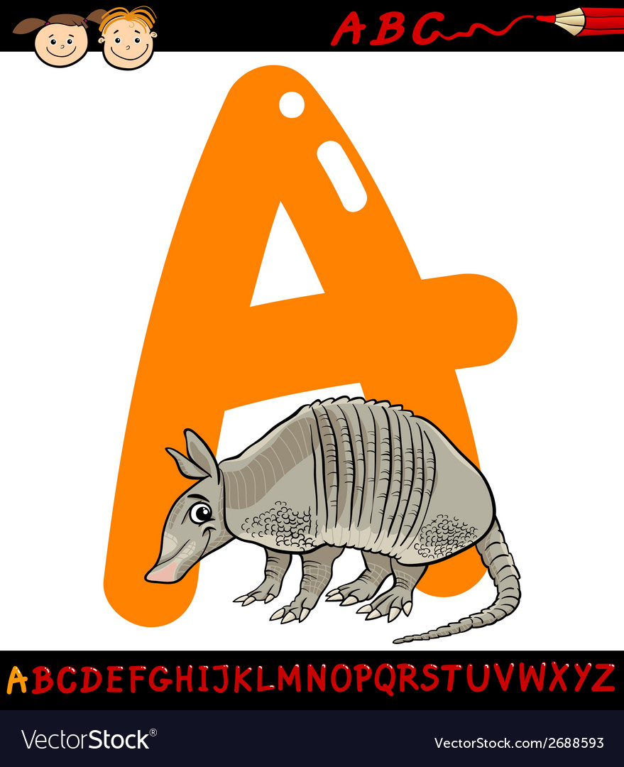 Letter a for armadillo cartoon vector | Price: 1 Credit (USD $1)