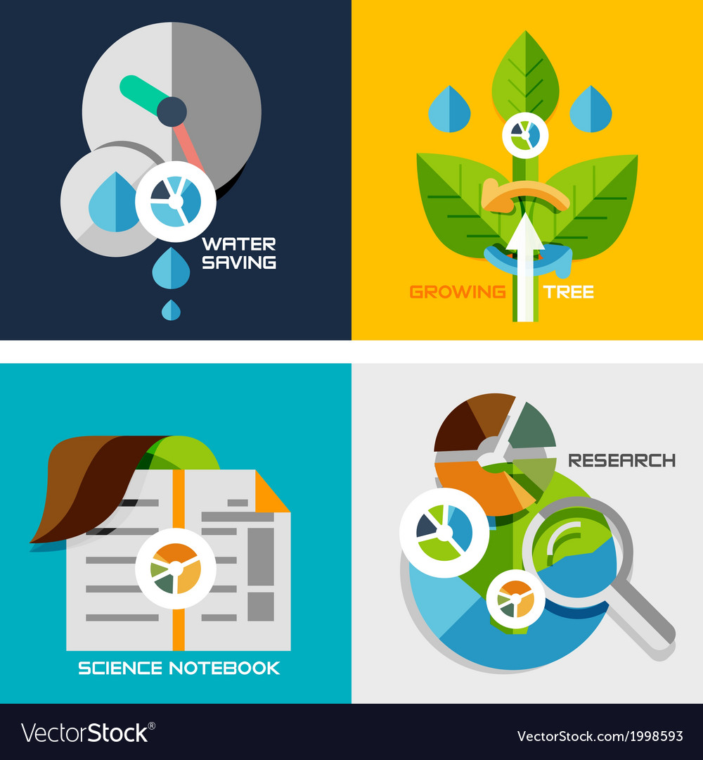 Set of flat design concepts - nature research vector | Price: 1 Credit (USD $1)