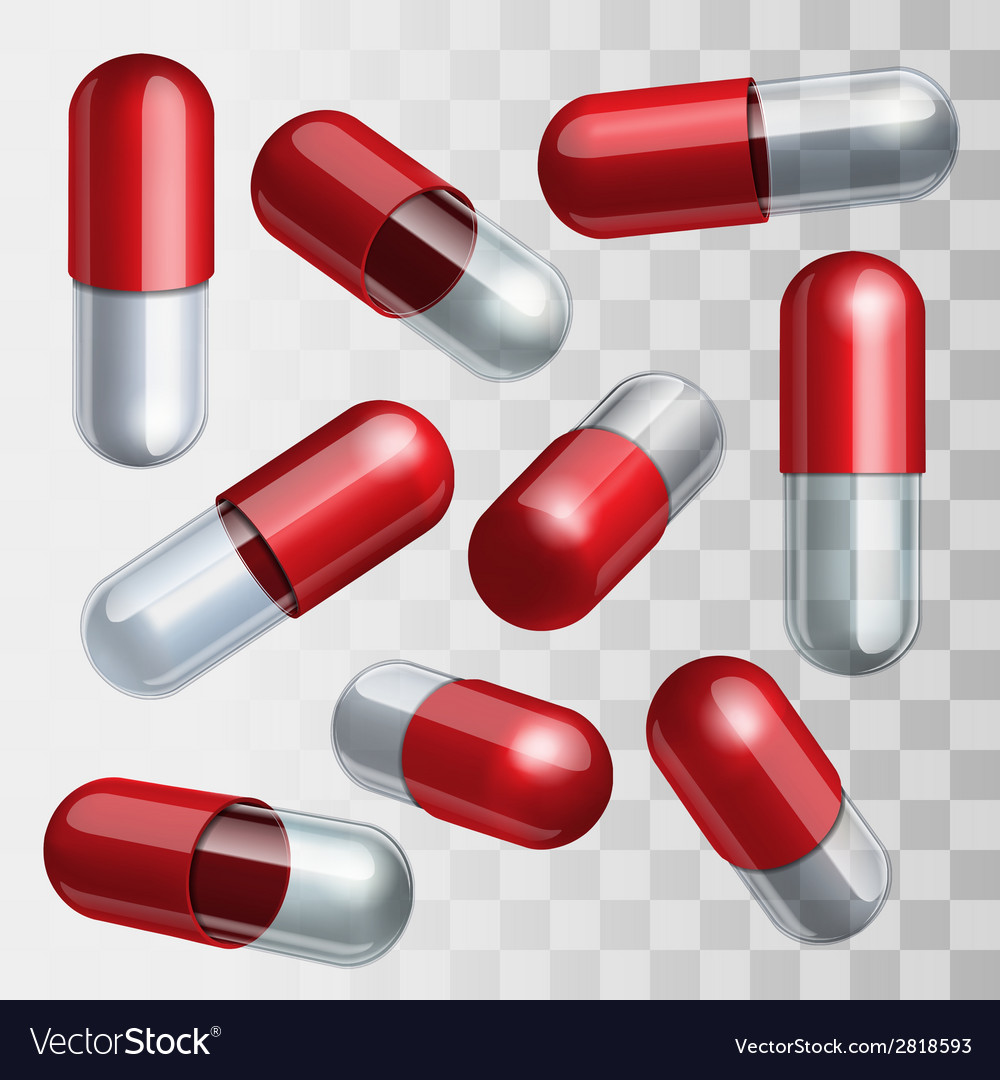 Set of red and transparent medical capsules in vector | Price: 1 Credit (USD $1)