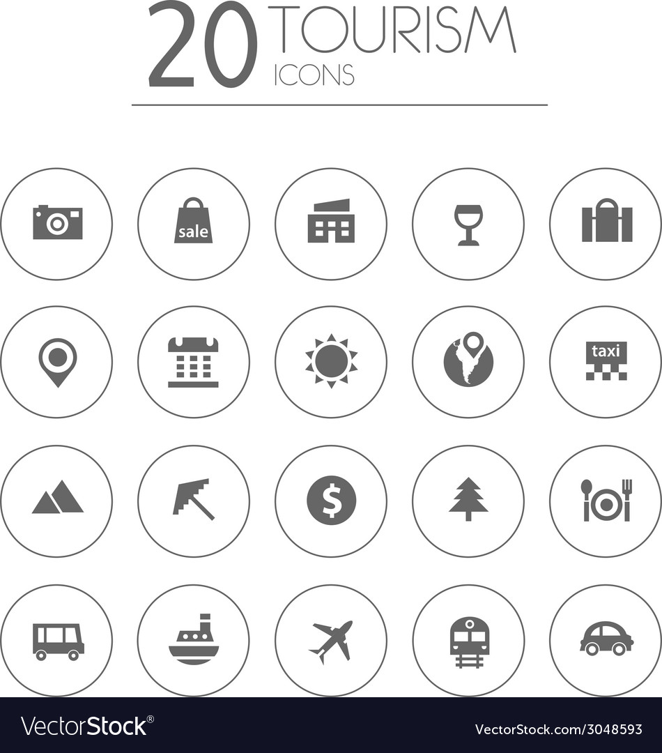 Simple thin tourism icons collection on white vector | Price: 1 Credit (USD $1)