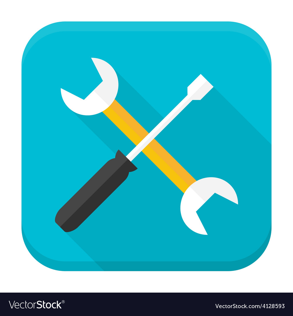 Wrench and screwdriver app icon with long shadow vector | Price: 1 Credit (USD $1)