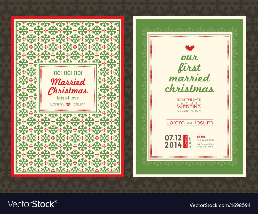 Christmas theme wedding invitation card template vector | Price: 1 Credit (USD $1)