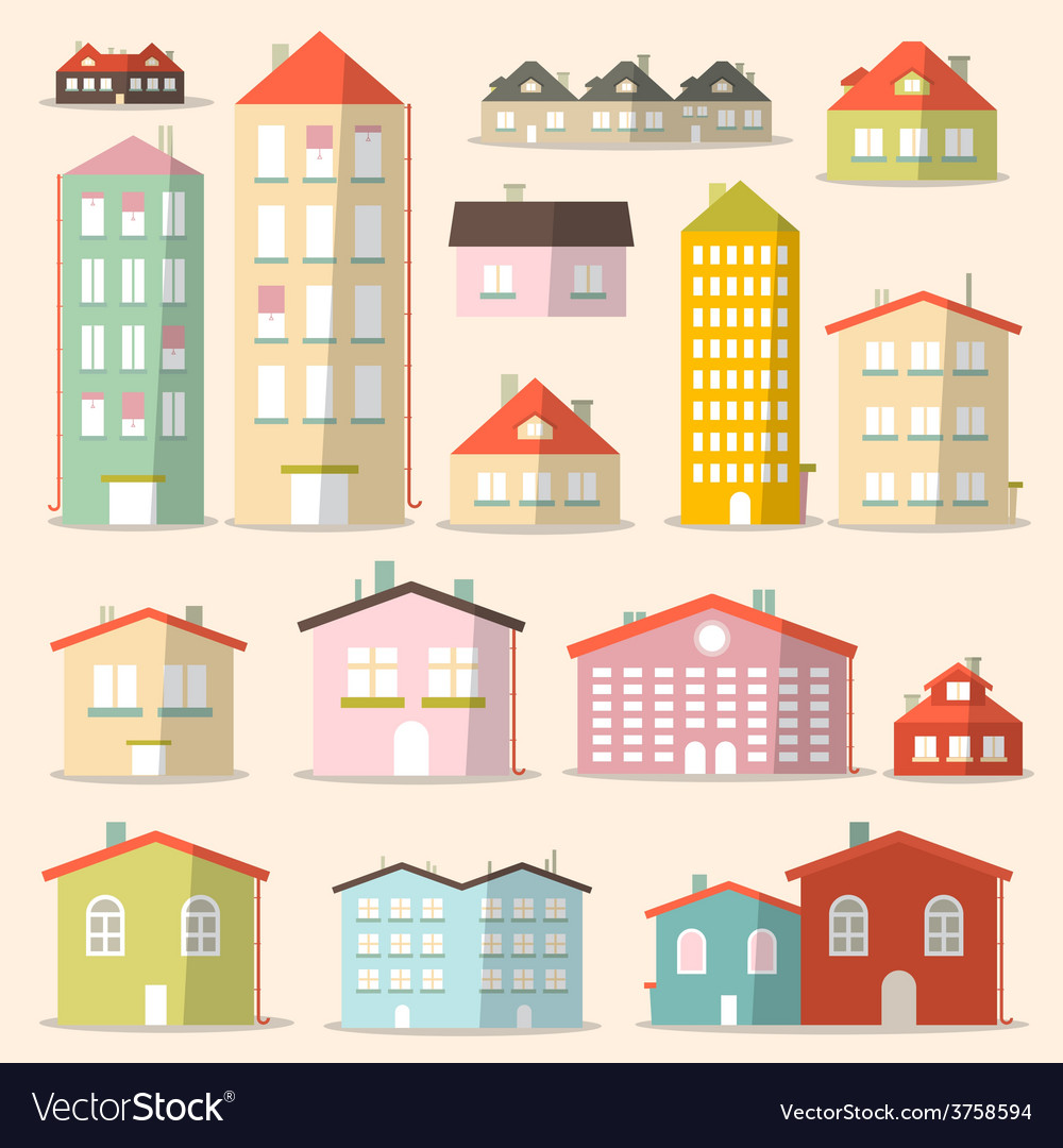 Flat design paper houses - buildings set vector | Price: 1 Credit (USD $1)