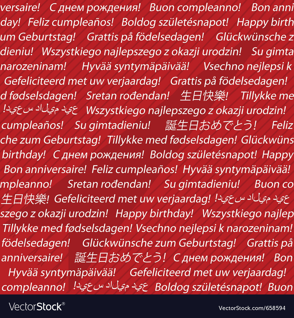 Happy birthday in different languages vector | Price: 1 Credit (USD $1)