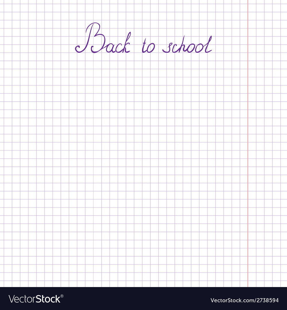 Inscription back to school on a sheet of paper in vector | Price: 1 Credit (USD $1)