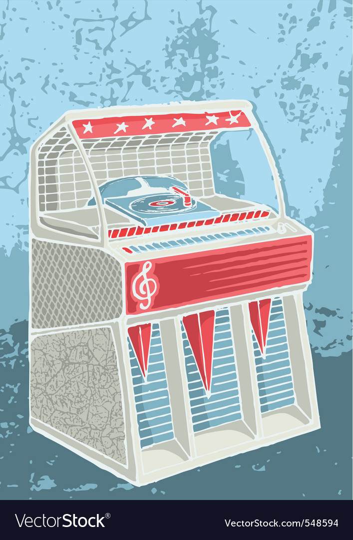 Retro jukebox sketch vector | Price: 1 Credit (USD $1)
