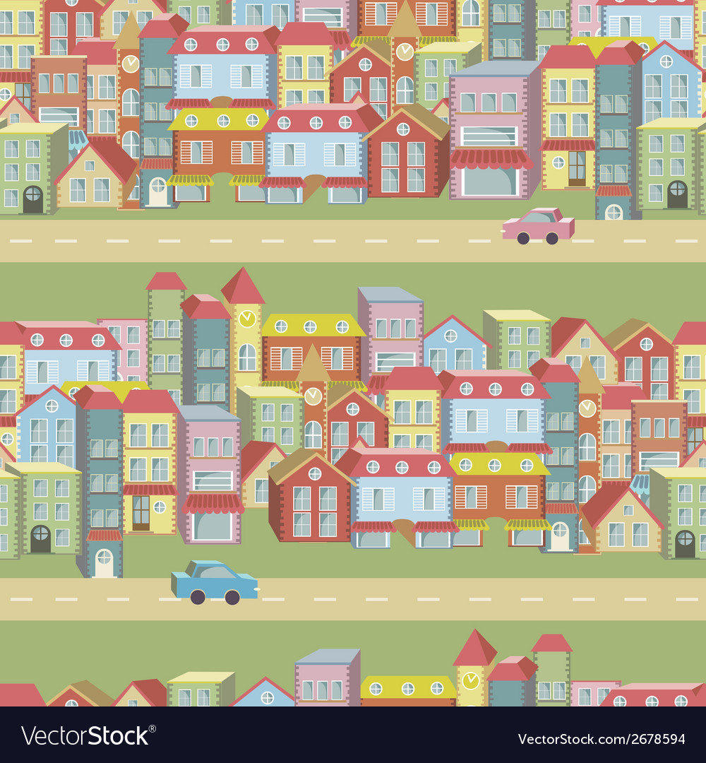 Seamless pattern with houses and roads vector | Price: 1 Credit (USD $1)