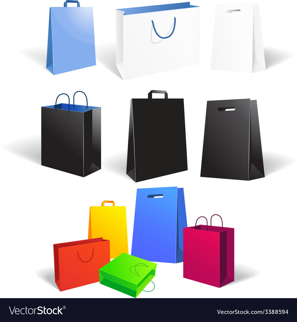 Set of empty shopping bags isolated on white vector | Price: 1 Credit (USD $1)
