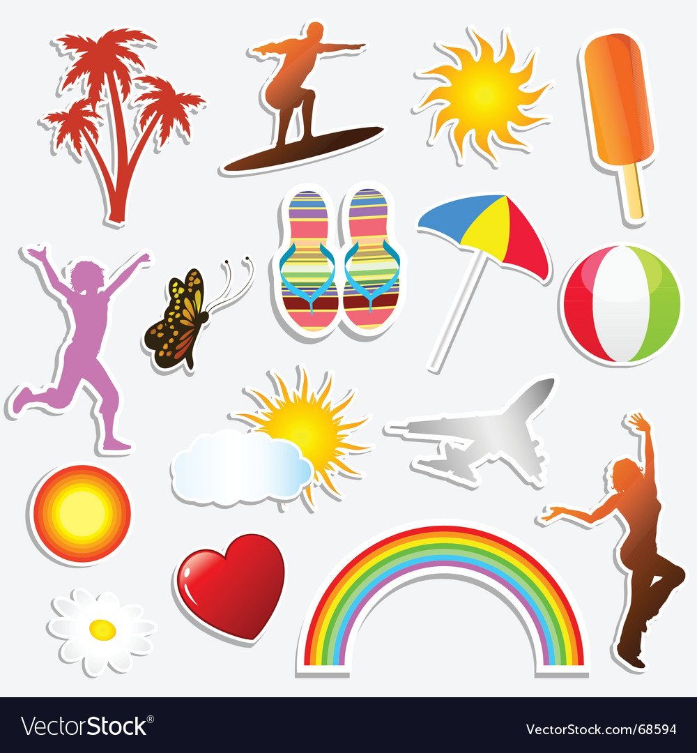 Summer stickers vector | Price: 1 Credit (USD $1)