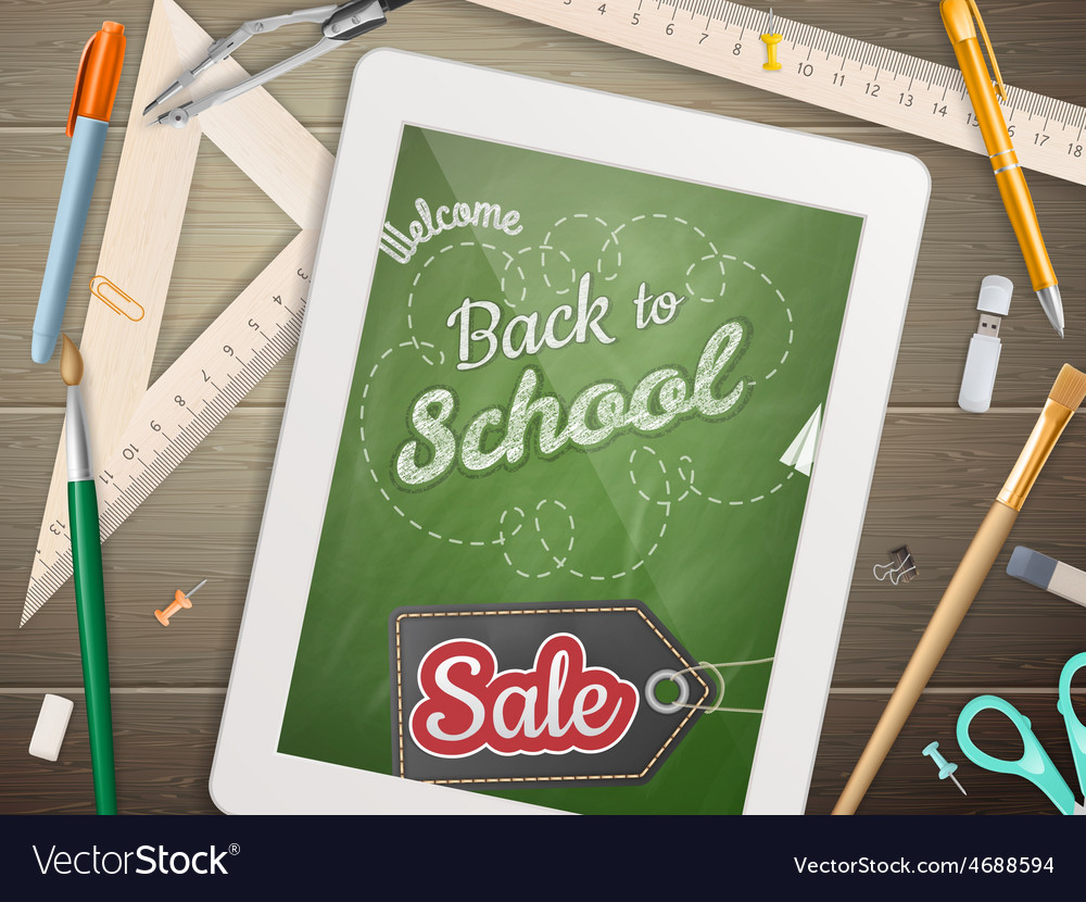 Tablet with a chalkboard eps 10 vector | Price: 3 Credit (USD $3)