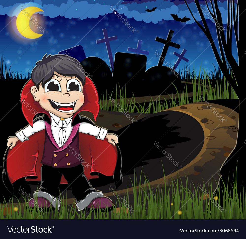 Vampire on a cemetery vector | Price: 3 Credit (USD $3)