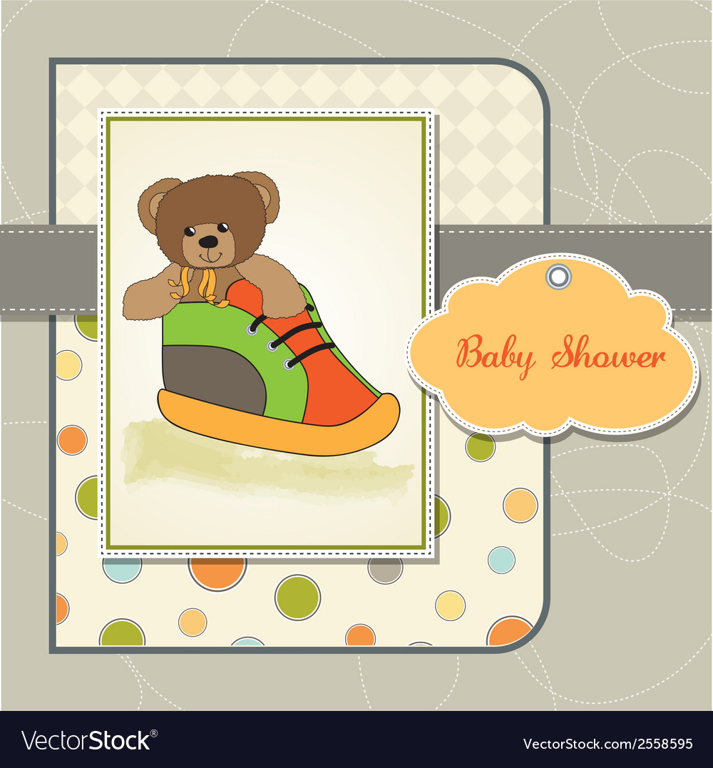 Baby shower card with teddy bear hidden in a shoe vector   Price: 1 Credit (USD $1)