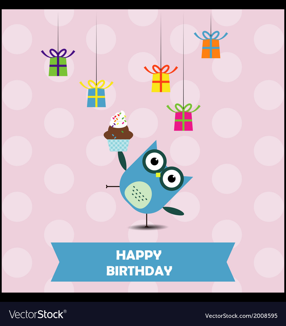 Birthday party card with cute owl vector | Price: 1 Credit (USD $1)