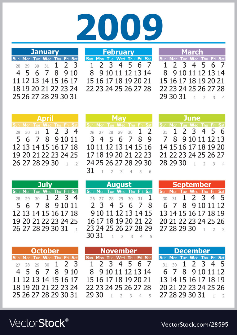 Calendar 2009 vector | Price: 1 Credit (USD $1)