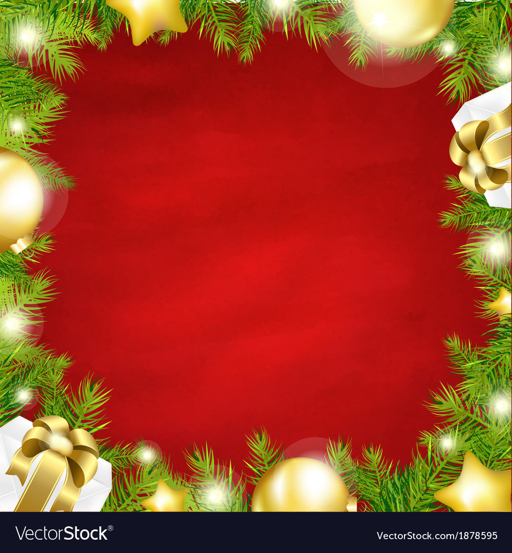 Christmas red background with fir tree border vector | Price: 1 Credit (USD $1)