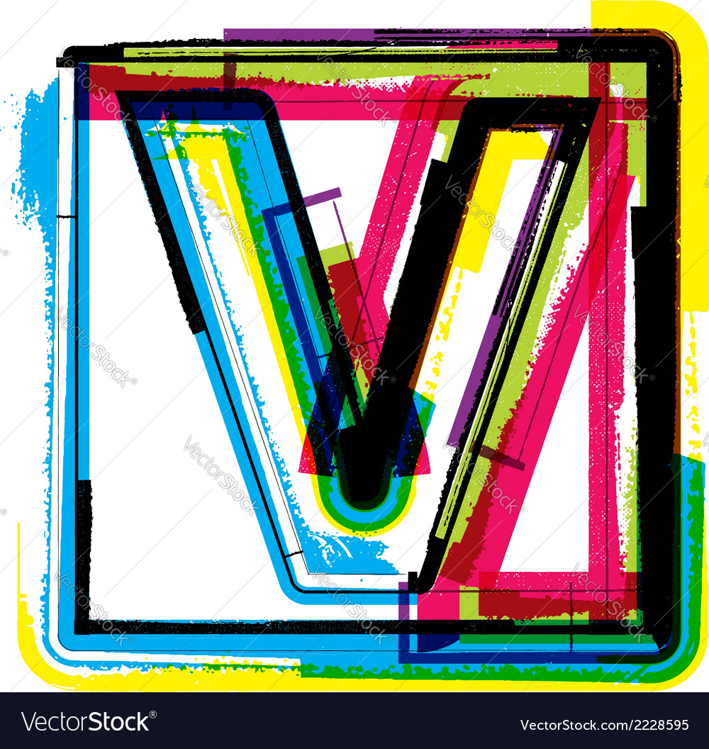 Colorful grunge font letter v vector | Price: 1 Credit (USD $1)