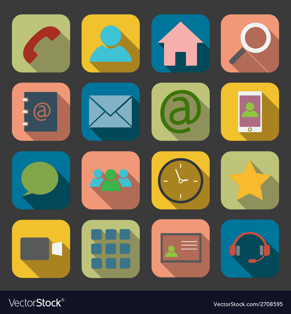 Flat communication icons vector | Price: 1 Credit (USD $1)