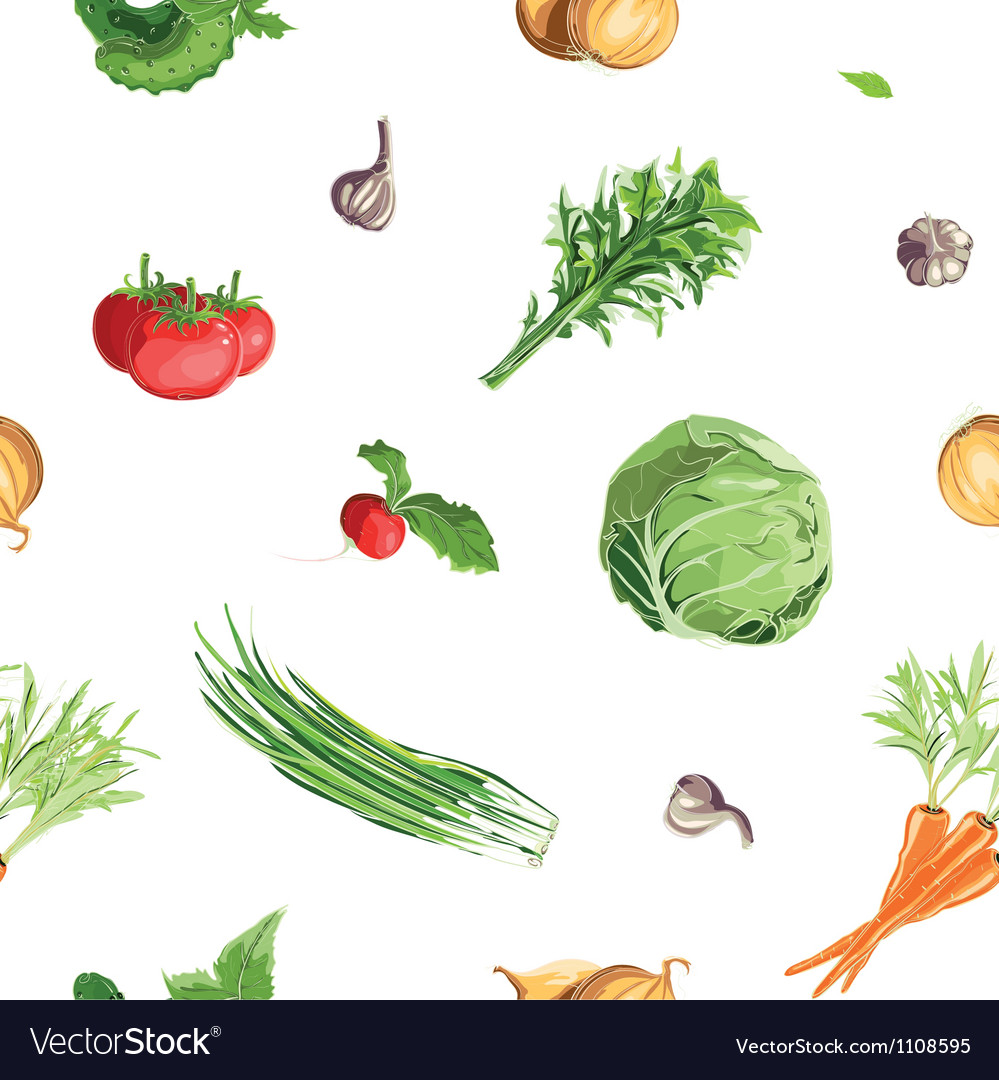 Fresh vegetables seamless pattern vector | Price: 1 Credit (USD $1)