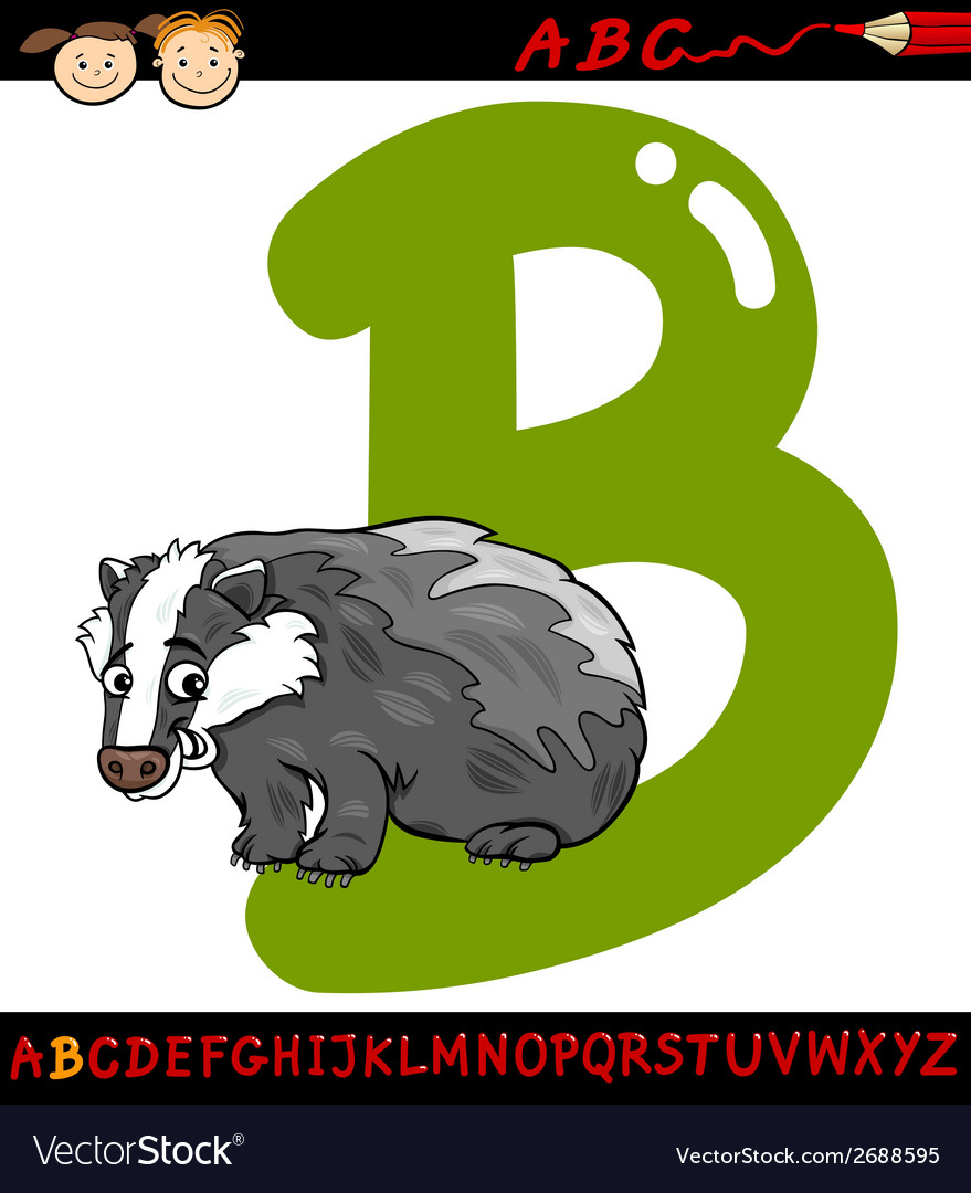 Letter b for badger cartoon vector | Price: 1 Credit (USD $1)