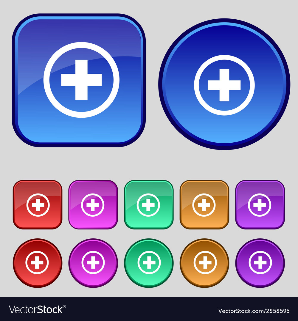 Plus sign icon positive symbol zoom inset vector | Price: 1 Credit (USD $1)