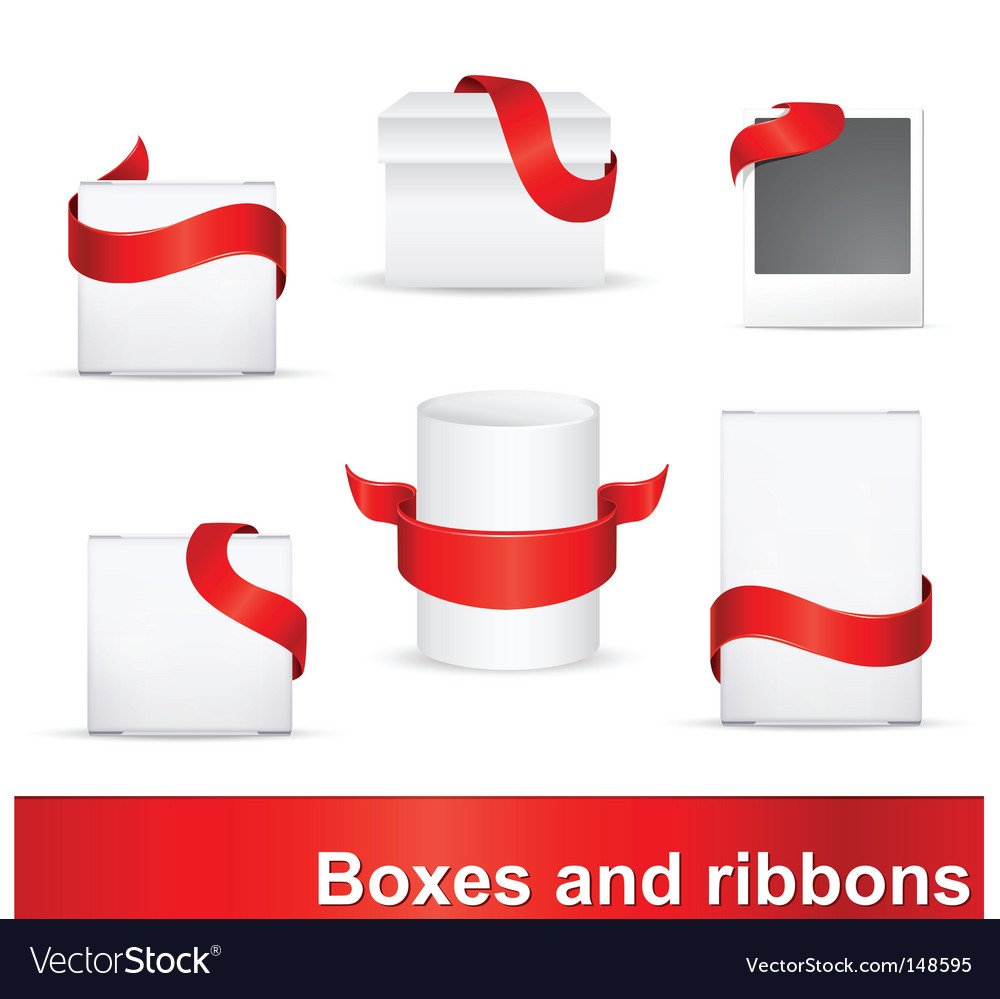 Red ribbons on boxes vector | Price: 1 Credit (USD $1)