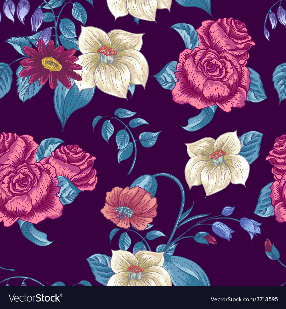 Seamless floral pattern with roses and wildflowers vector | Price: 1 Credit (USD $1)