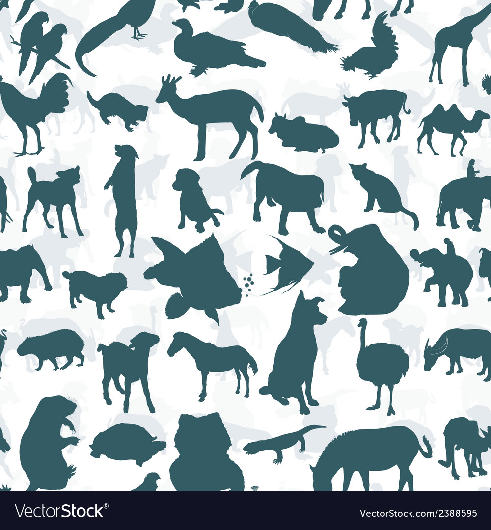 Seamless of silhouette set of animals vector | Price: 1 Credit (USD $1)