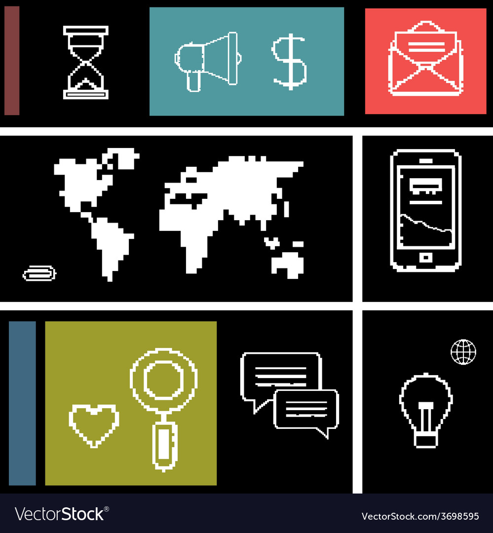 Set icons for business internet and communication vector   Price: 1 Credit (USD $1)
