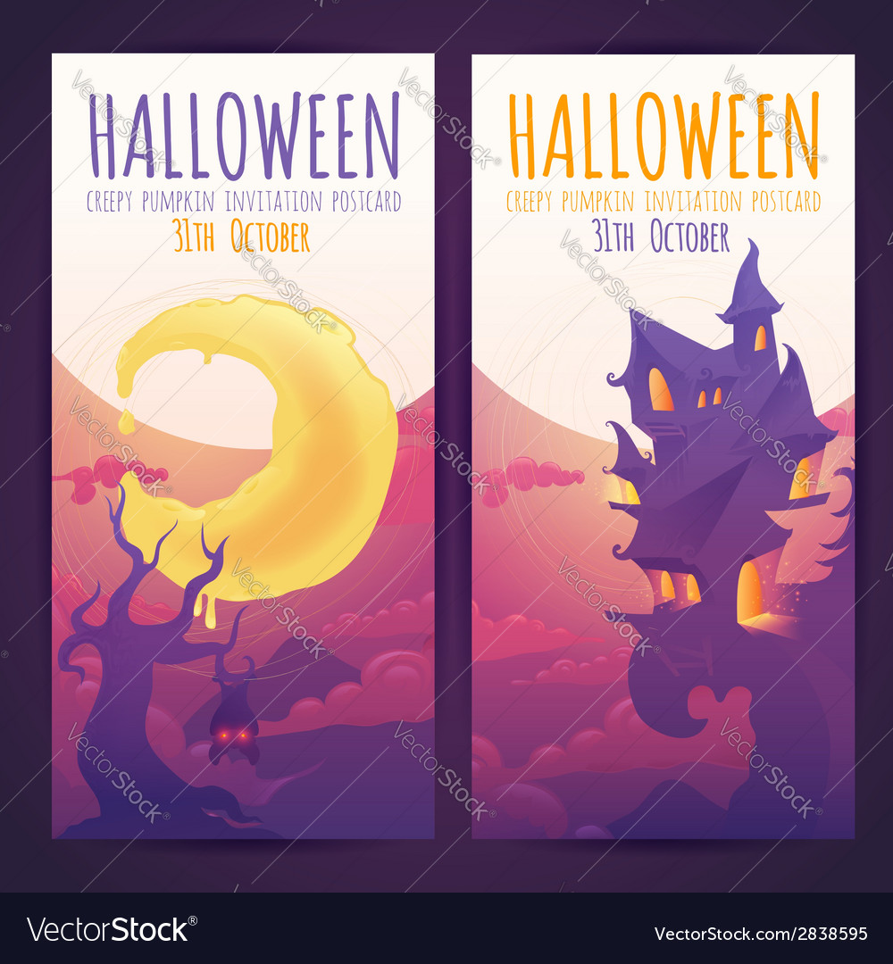Set of halloween banners with spooky haunted house vector   Price: 3 Credit (USD $3)