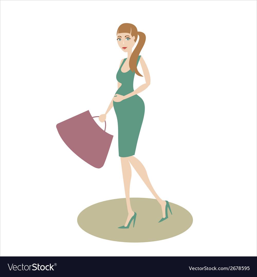 Shopping pregnant girl vector   Price: 1 Credit (USD $1)