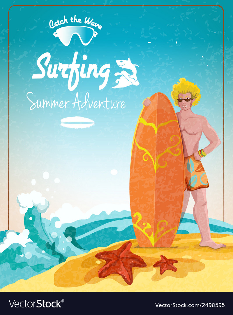 Surfing summer adventure poster vector | Price: 1 Credit (USD $1)