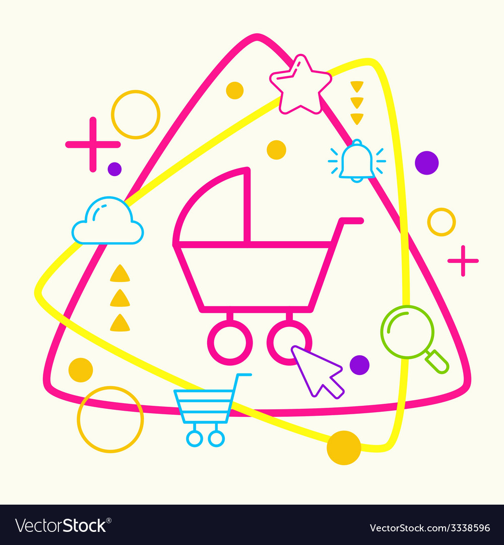 Baby carriage on abstract colorful geometric light vector | Price: 3 Credit (USD $3)